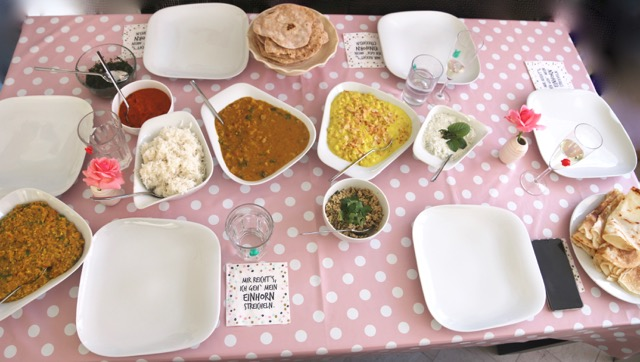 südindischer Kochkurs gedeckter Tisch